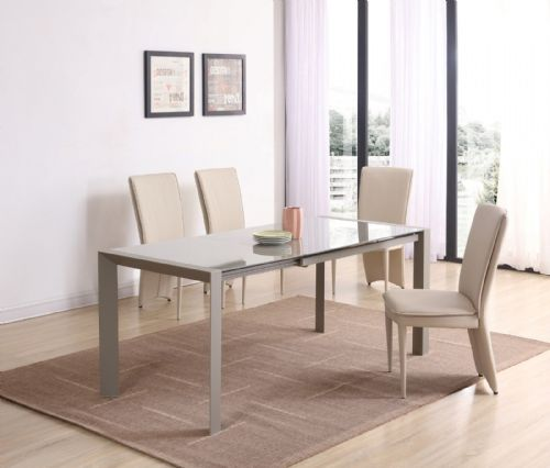 GA SICILY Cream Glass EXTENDING 120 / 180 cm Table & Chairs - 4 Colours